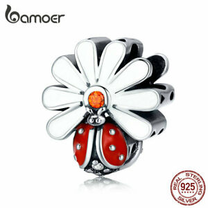 BAMOER S925 Sterling silver Charm CZ Enamel Ladybug Fit Bracelet Women Jewelry
