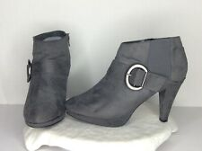 Lane Bryant Grey Fabric Ankle Bootie High Heel Zip Stretch Comfort Size 11 Wide