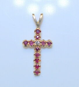 Gorgeous Petite Estate 14K Gold Ladies Ruby & Diamond Cross Pendant .12 Carats
