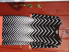 Studio 1 Ladies Dress size L Black/White Geometric Above knee 3/4 sleeve Lined