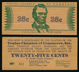 ^^A RARITY^^ JANUARY 1933 TENINO WASHINGTON WOODEN SCRIP >>> NO RESERVE