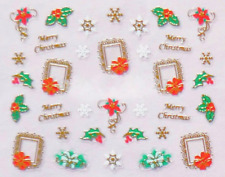 Nailart Stickers Autocollants Ongles Déco Noël Scrapbooking Cadres Dorés Houx