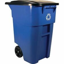 Rolling Blue Recycling Bin Plastic Utility Waste Container Garbage Trash 50Gal