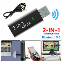 2 in 1 USB Bluetooth 5.0 Audio Transmitter & Receiver Adapter For TV/PC/Car/Home