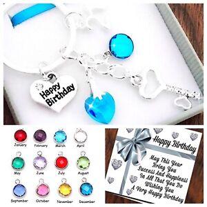 16th,18th,21st BIRTHDAY Gift SILVER KEY, BIRTHSTONE,Keyring,30th 40th Box & Card