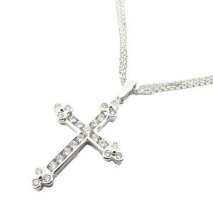 .Stunning 14k White Gold 0.66ct G VS Diamond Set Cross & Chain Valuation $4310
