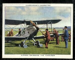 Tobacco Card, Churchman, THE RAF AT WORK, 1938, Airman Swinging Airscrew, #42