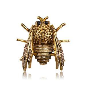 Women Men Cicada Animal Jewellery Rhinestone Crystal Insect Gold Brooch Pin Gift