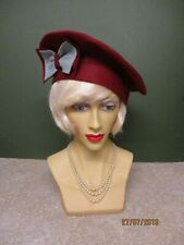 SPECIAL ORDER 2 X 1940'S LADIES DARK RED FELT & GREEN HAT WITH BOW DECORATION