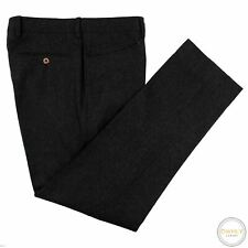 NWOT Polo Ralph Lauren Grey Wool Flannel Italy Leather Detail Saddle Pants 32W