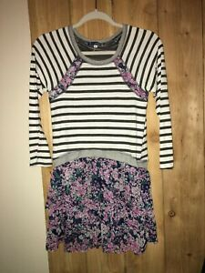 Truly Me Girls Black,White & Floral & Strpied Dress Size 14