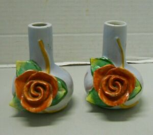 Ceramic Bud Bloom Red 3D Rose Flower Dipped Blue w/ Pink Vase Occupied Japan x2