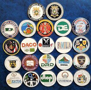 SET 21 MEDALLA GOBIERNO PUERTO RICO Commonwealth Gov Agency Medal hoard lot ELA