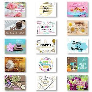 Geburtstagskarten 15er Set mit Umschläge, Happy Birthday Postkarten, Kraftpapier
