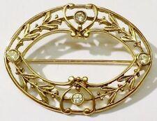 broche rétro finement travaillé relief ajouré cristal diamant couleur or * 4756