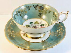 Vintage Paragon Teacup & Saucer Green With Gold Gilding Bone China