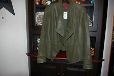 NWT G.I.L.I. Dark Green Textured Leather Open Front Jacket Size 12 Tag $242.00