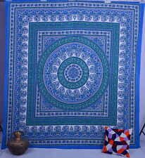 Blue Hippie Indian Bedspread Bohemian Queen Throw Mandala tapestry Wall Hanging