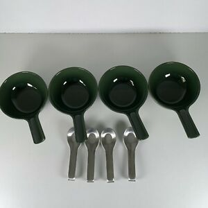 Royal Vkb Ineke Hans Farmhouse Green 4 Handled Bowls 4 Stainless Steel Spoons
