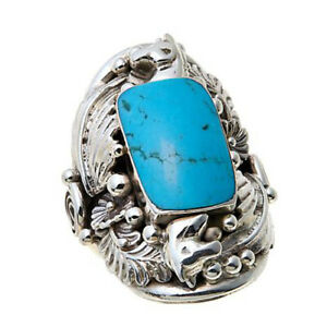 """HSN Chaco Canyon Kingman Turquoise """"Leaf"""" Sterling Silver Ring Size 7 $312"""