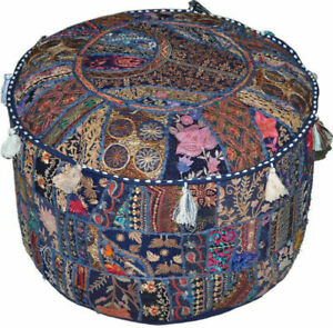 18'' Blue Handmade Pouf Cover Ottoman Round Vintage Boho Patchwork Embroidered