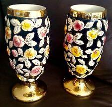 "Pair of Superb Antique Hand Painted Gold Gilded 10""/26cm German Porcelain Vases"