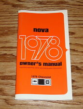 1978 Chevrolet Nova Owners Operators Manual 78 Chevy