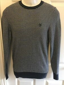 XS Blue Striped Luxury Cashmere Blend Jumper By Fat Face