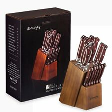 Knife Set, 15-Piece Kitchen Knife Set with Block Wooden, Self Sharpening for Che