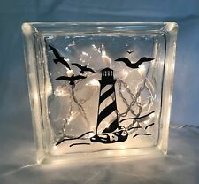 """Lighthouse with Seagulls decal sticker for 8"""" Glass Block Lake Beach House"""