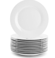 "White Dinner Plates Set of 12 Classic Porcelain Dinnerware 10.5"" Round"