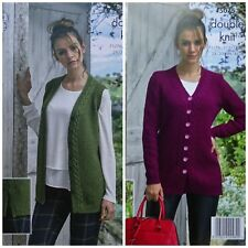 KNITTING PATTERN Ladies Long Cable Edge Waistcoat & Cardigan DK King Cole 5075
