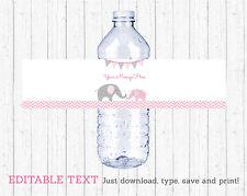 Pink Chevron Elephant Water Bottle Labels Printable Editable PDF