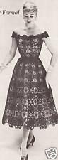 Vintage Crochet  PATTERN to make Lace Formal Evening Dress 50s Medallion Motif S