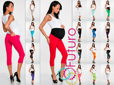 Maternity Cropped Leggings With Pockets 3/4 Length High Waist Sizes 8 - 22 LCKP