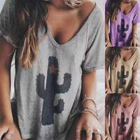 Women Summer V-Neck Short Sleeve Solid Cactus Print T-Shirt Casual Loose Tops