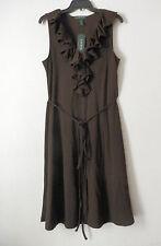 NWT $119 LAUREN Ralph Lauren Size L Dress Chocolate Sleeveless Ruffle Neckline