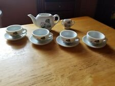 Vintage Children's China Partial Tea Set Made In Japan Girl Painting Dog House