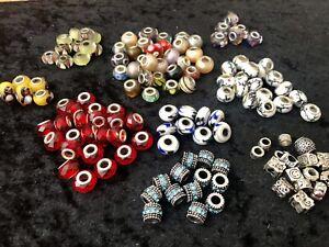 140 + European Bracelet Style Glass Beads & Tibetan Silver Spacer & Stoppers