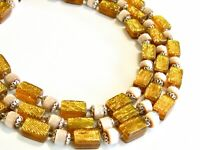 RARE TRIPLE THREE STRAND VINTAGE JAPAN BEADED NECKLACE GOLD LAME BEAD & FILIGREE