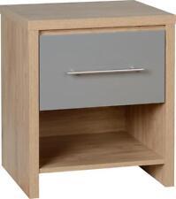 Seville 1 Drawer Bedside Cabinet Light Oak with GREY effect