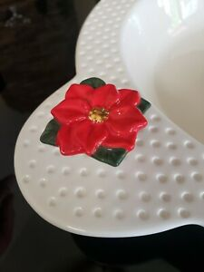 Nora Fleming Retired Red Poinsettia Flower Mini Christmas Holiday MINT CONDITION