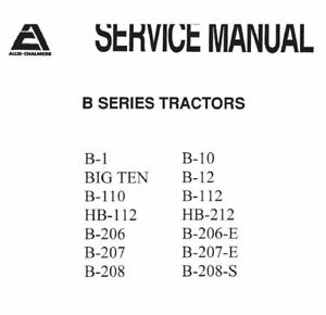 Allis Chalmers B Series Tractors Service Manual 300 pages cd pdf DISC