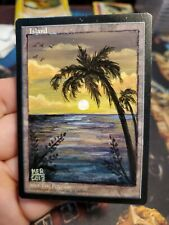 MtG Altered art ISLAND hand-painted textless extension Magic the Gathering Land