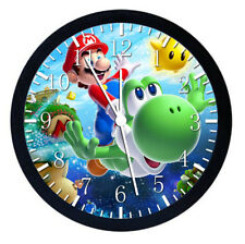Super Mario Yoshi Black Frame Wall Clock Nice For Gifts or Decor W69