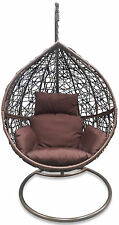 Outdoor Hanging Egg/ Pod Chair - Dark Brown Basket & Cushion
