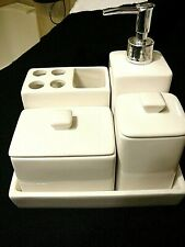 Ceramic 5 piece Vanity Set, 2 Lidded Containers, Soap Dispenser & Toothbrush