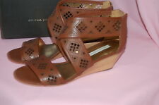 CYNTHIA VINCENT Leah Cognac Strappy Cut Out Wooden Wedges Leather Sandals~6.5