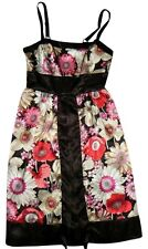 FIRE Los Angeles Black Ivory Beige Pink Red Floral Satin Split-Front Dress SMALL