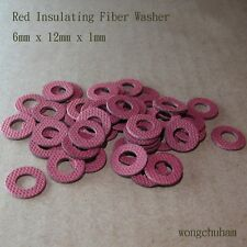 50 pcs Red Insulating Fiber Washers (6mm x 12mm x 1mm)